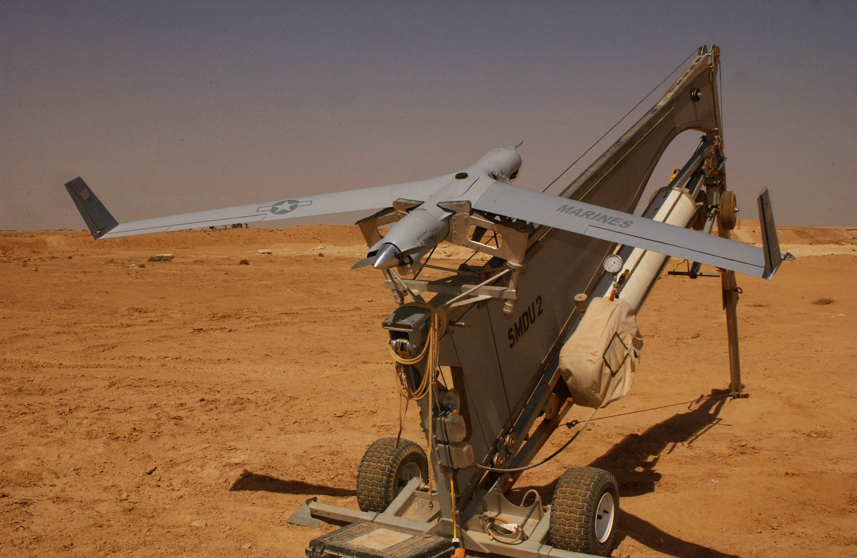 ScanEagle UAV catapult launcher 2005 04 16 Drone Conference Comes to NYC