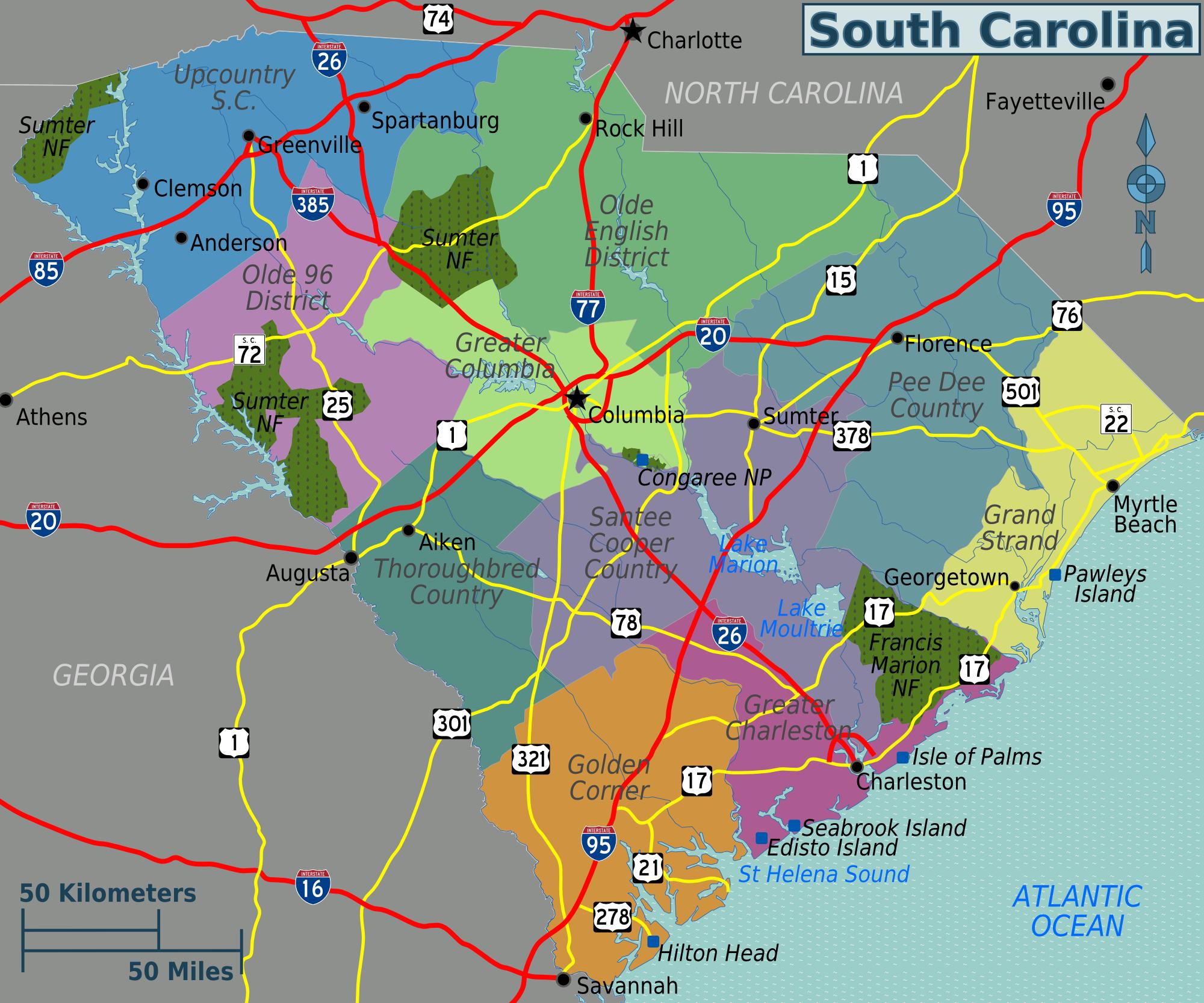 FileSouth Carolina regions map.png   Wikimedia Commons