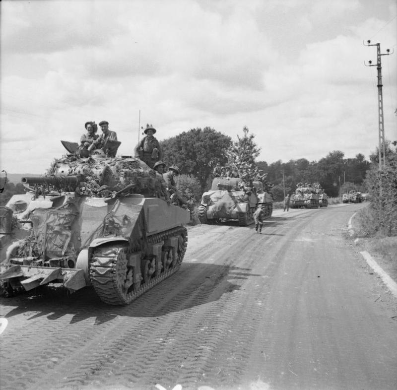 Sherman tanks advancing near Flers