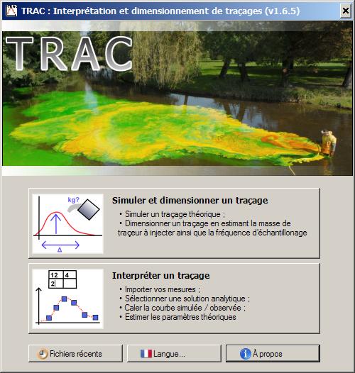 Accueil / Invite du logiciel TRAC