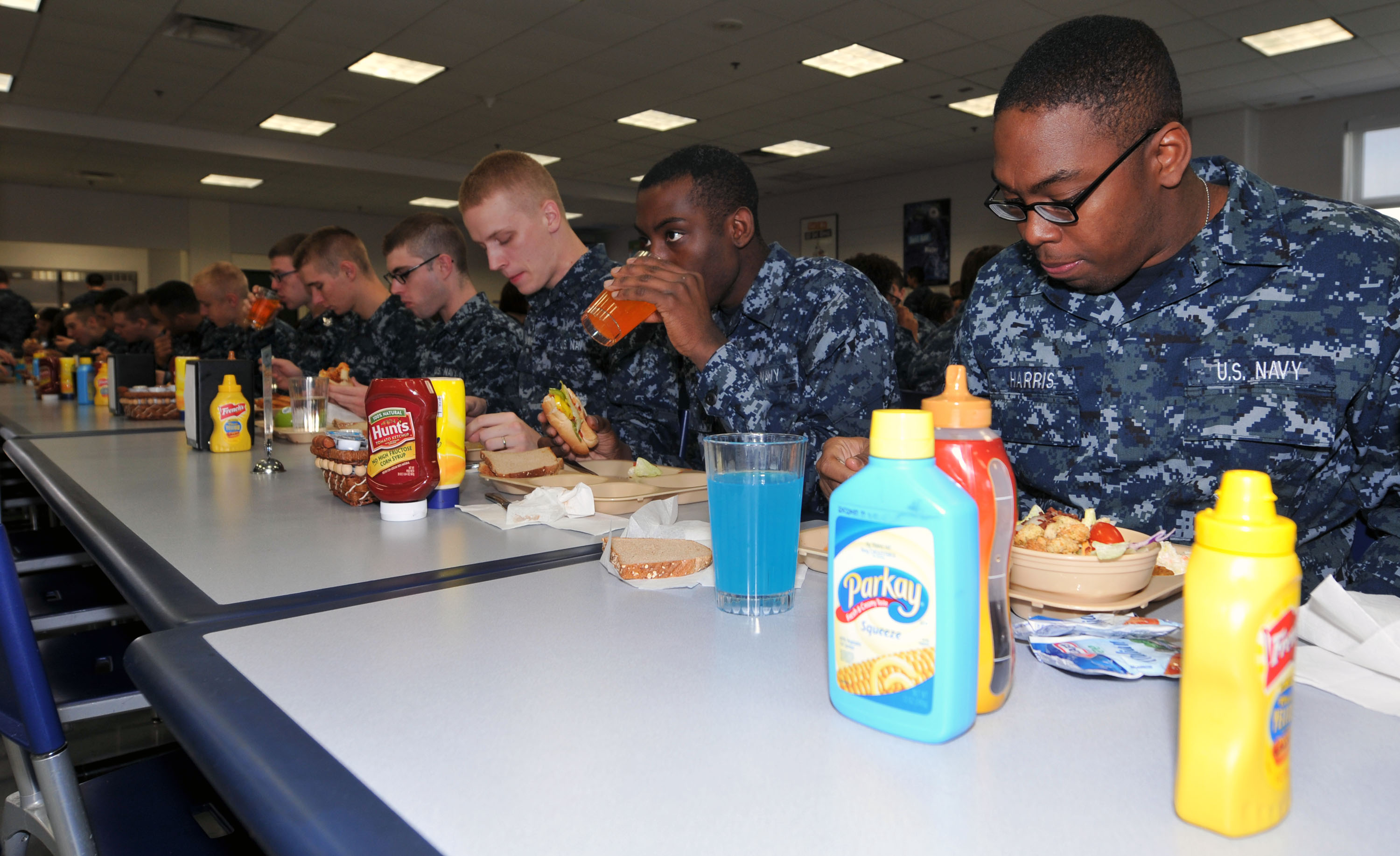 File U S Navy Recruits Eat Lunch In