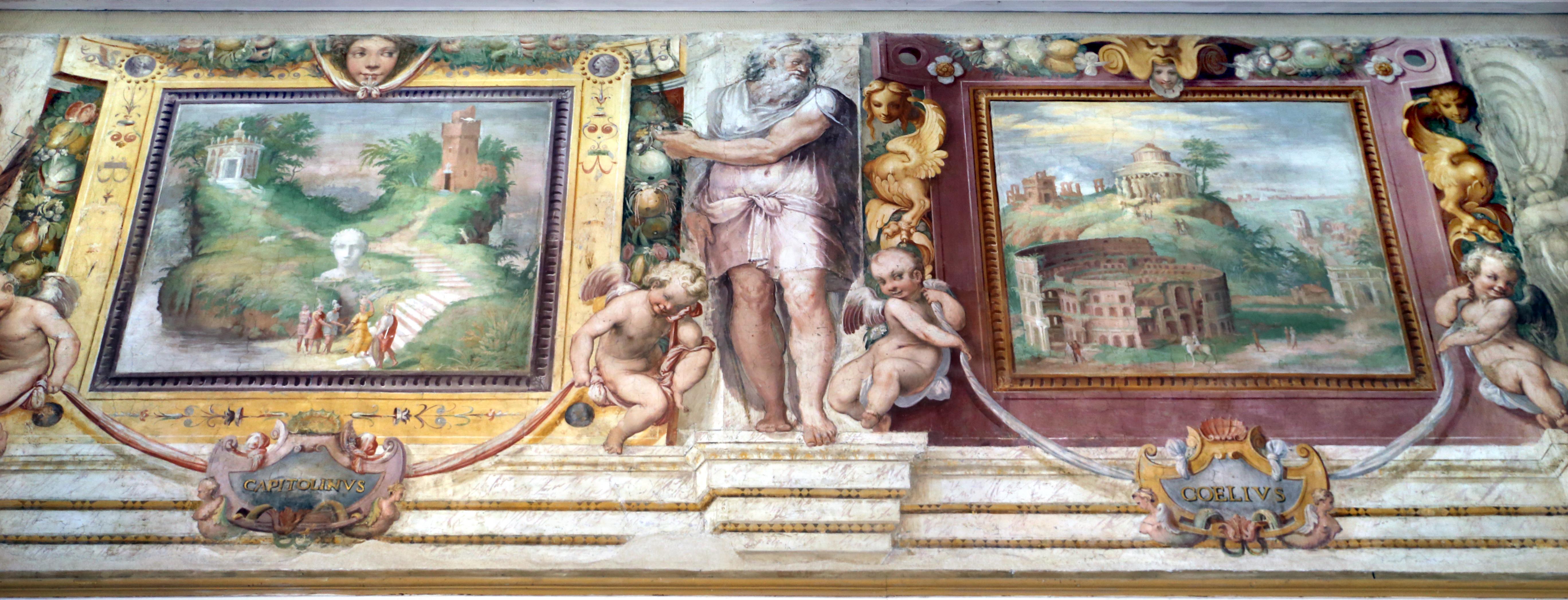 File:Villa giulia, piano nobile, sala A, affreschi di taddeo zuccari e prospero fontana 10 sette colli di roma, capitolino e celio.jpg - Wikimedia Commons