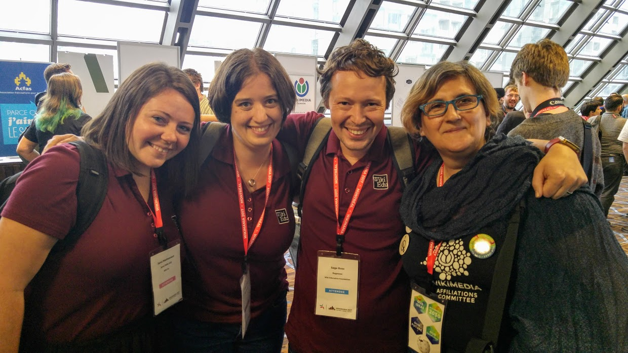 Jami, LiAnna, and Sage pose with Wikimedia Italia's Camelia Boban at Wikimania.