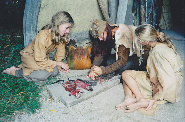 Woman and her two daughters prepared meat iron age