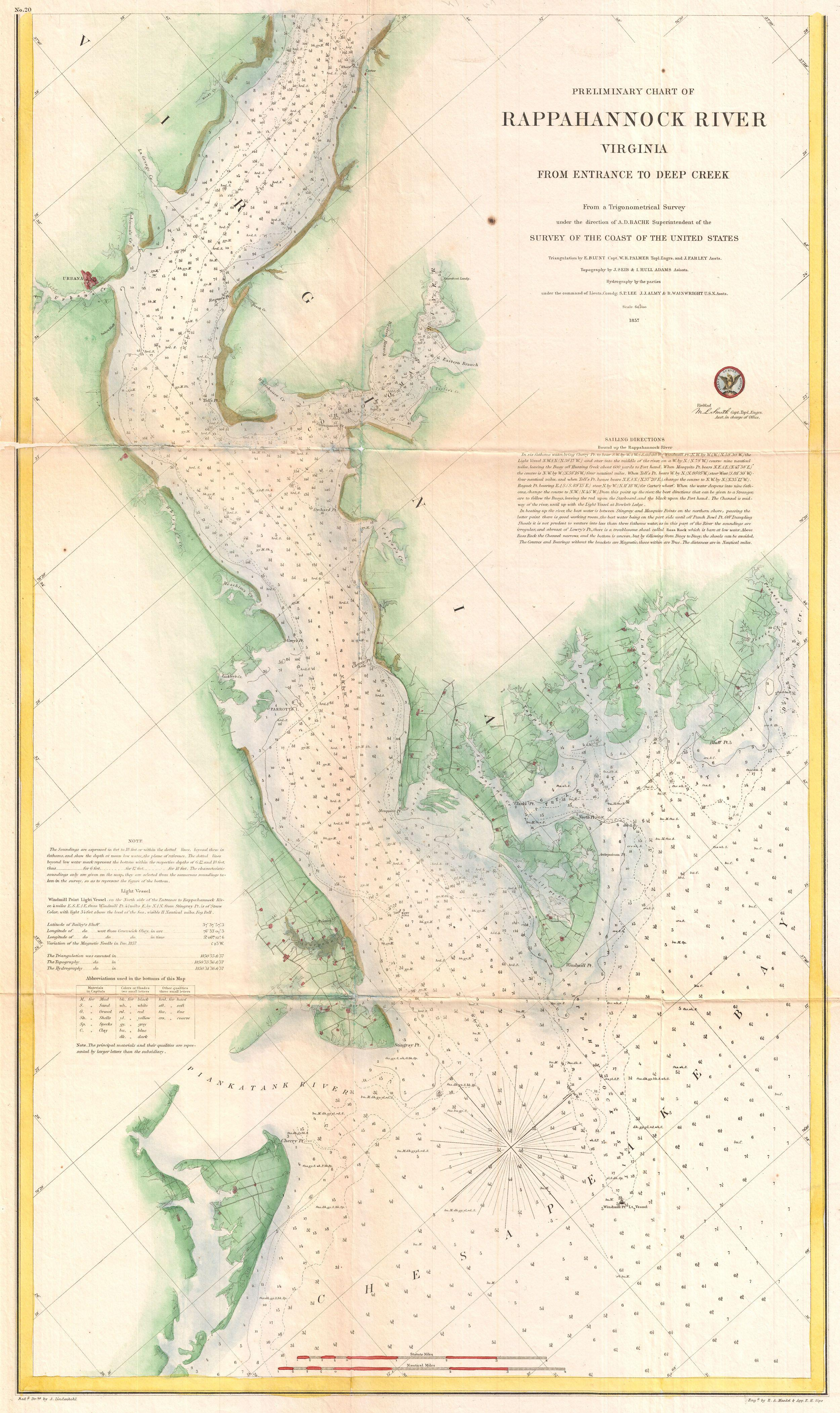 File 1857 U S Coast Survey Map Or Chart Of The Rapphannock River South Virginia