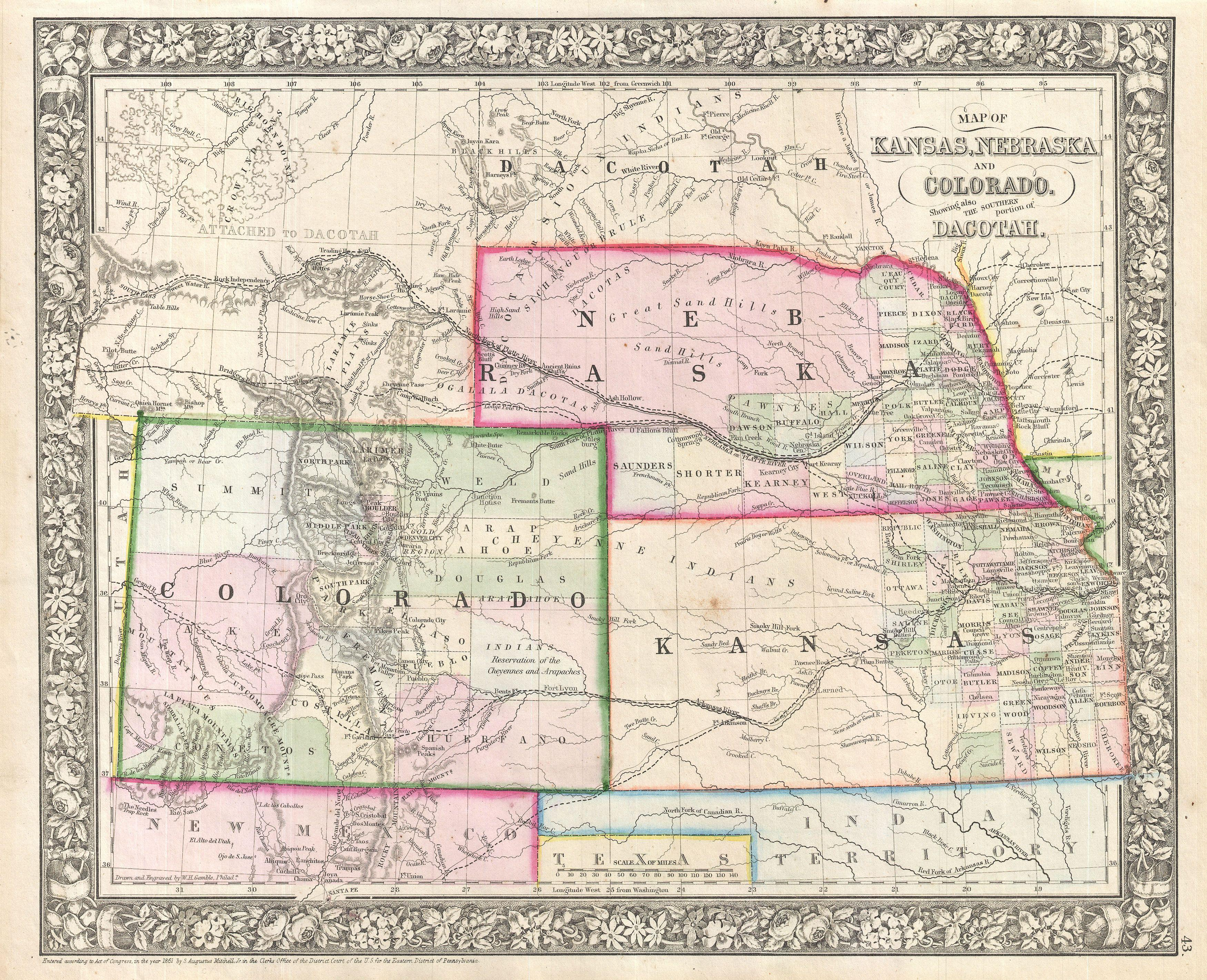 File:1866 Mitchell Map of Colorado, Nebraska, and Kansas ...