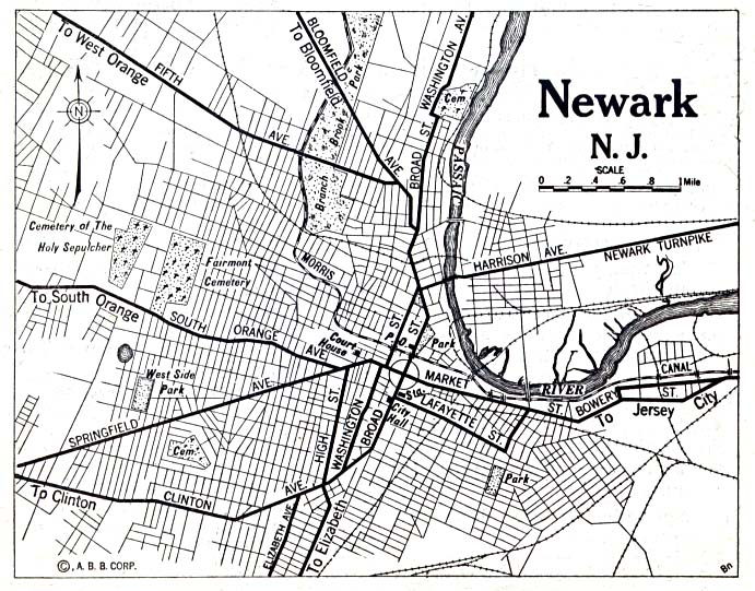 file 1920 map newark new jersey automobile blue book
