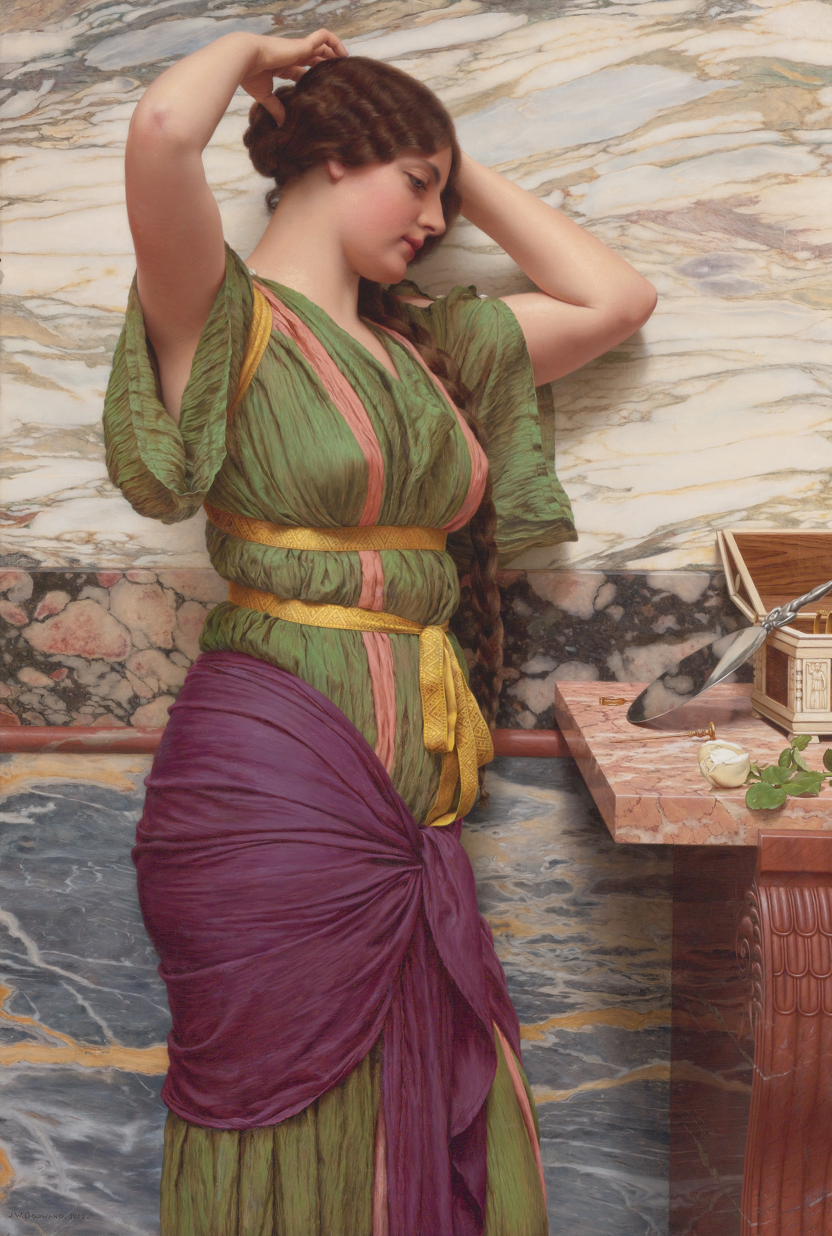 Stunning Image of John William Godward and A Fair Reflection in 1915