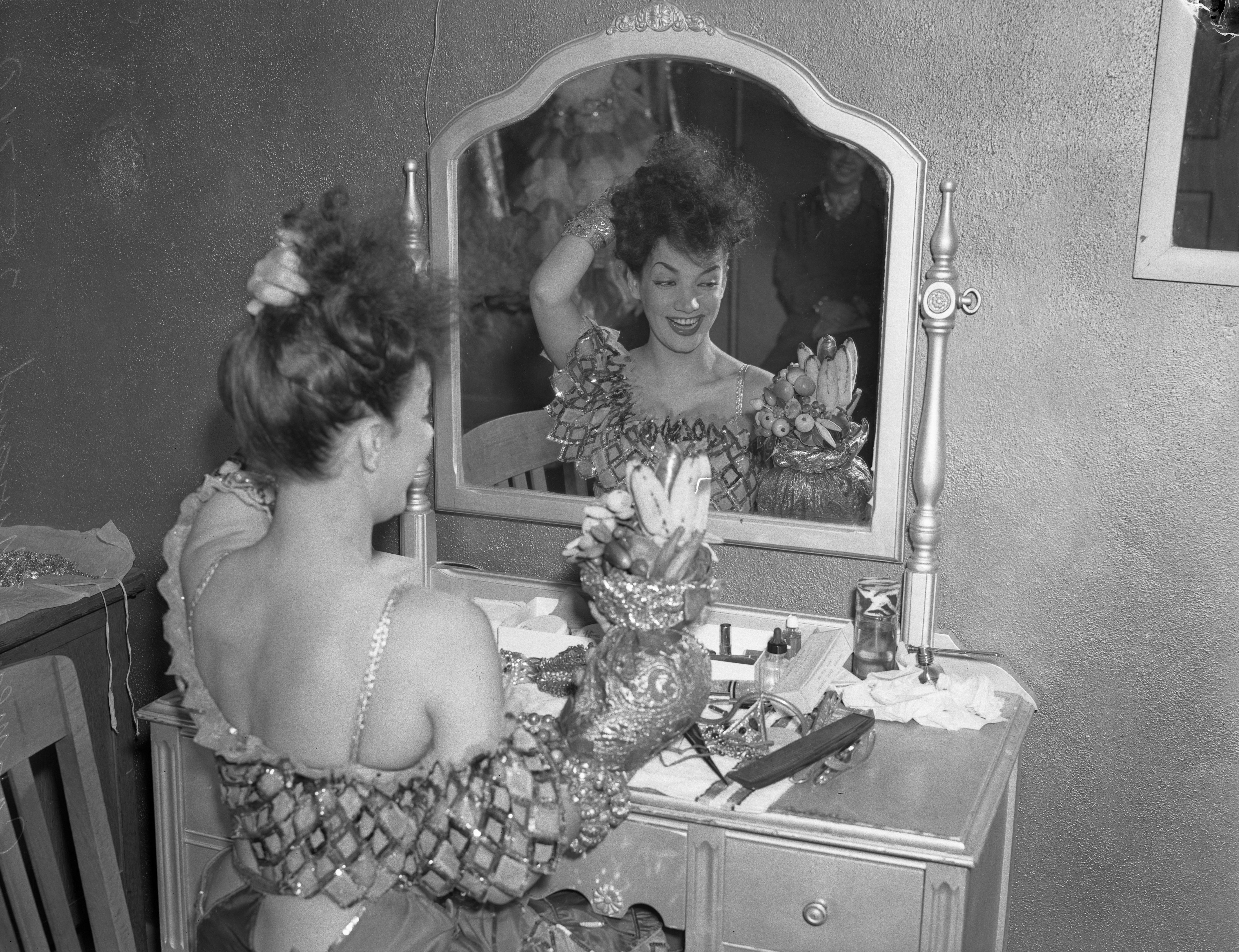File Actress Carmen Miranda At Dressing Table With Her