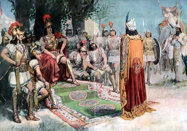Александр встречает индийского царя Пора, пленённого в битве на реке Гидасп.