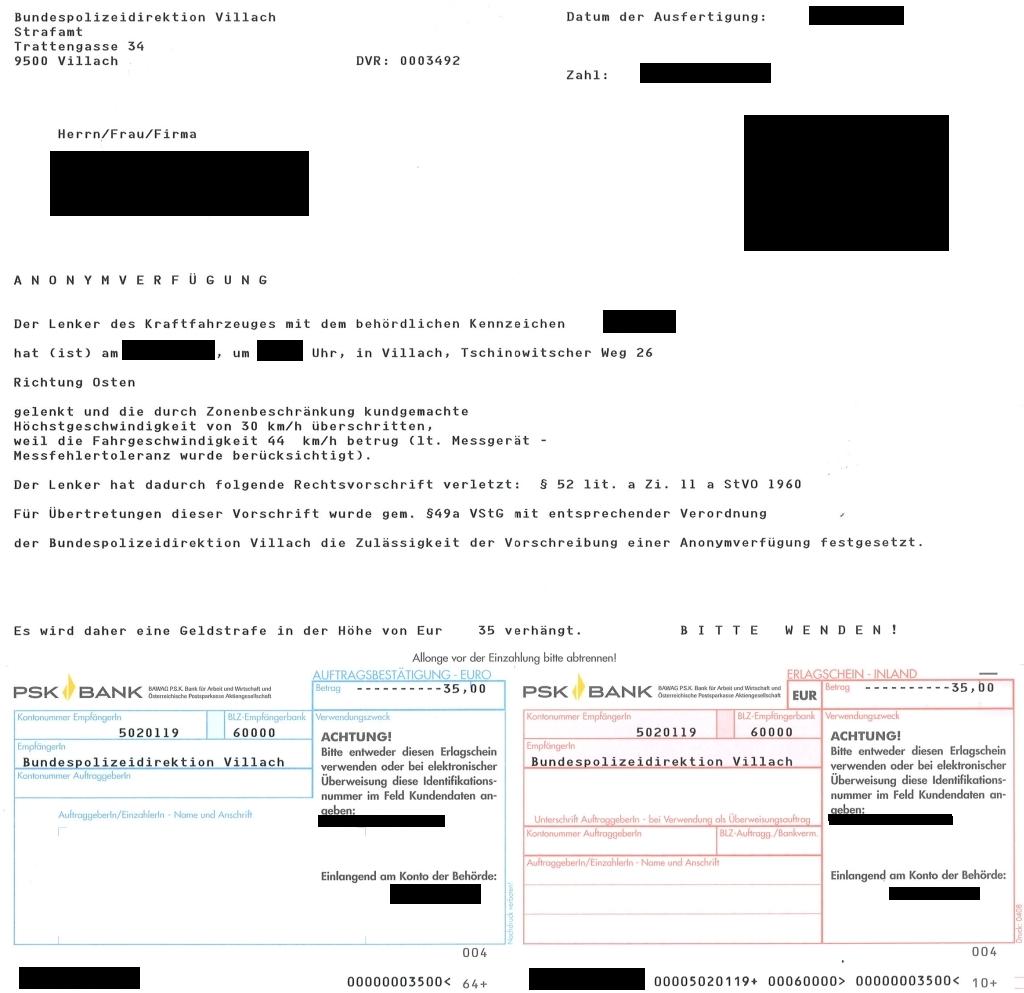 Strafzettel österreich Anonymverfügung