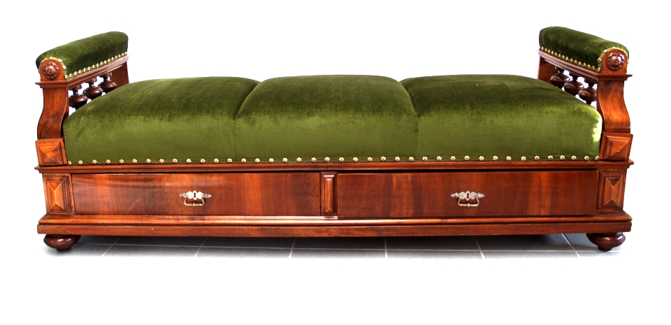 Antikes Sofa Diwan furniert Laden daybed