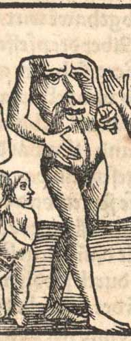 A blemmyae in the 1544 wodcutt in the Cosmographia of Sebastian Münster