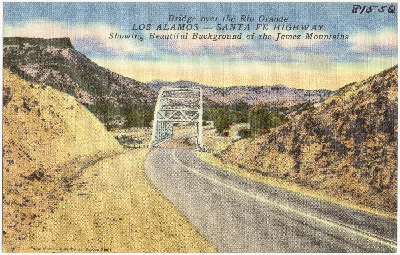 Albuquerque To Santa Fe >> File:Bridge over the Rio Grande, Los Alamos -- Santa Fe Highway. Showing beautiful background of ...