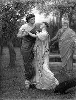 A print. In the foreground are a young man and awoman in each others arms. An older man looks on. All are dressed after the ancient roman style