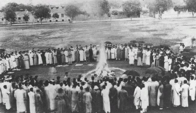 Tsinghua University students in Beijing burn Japanese goods in 1919