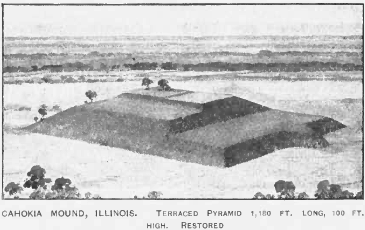 Artist's Reconstruction of Monk's Mound at Cahokia.