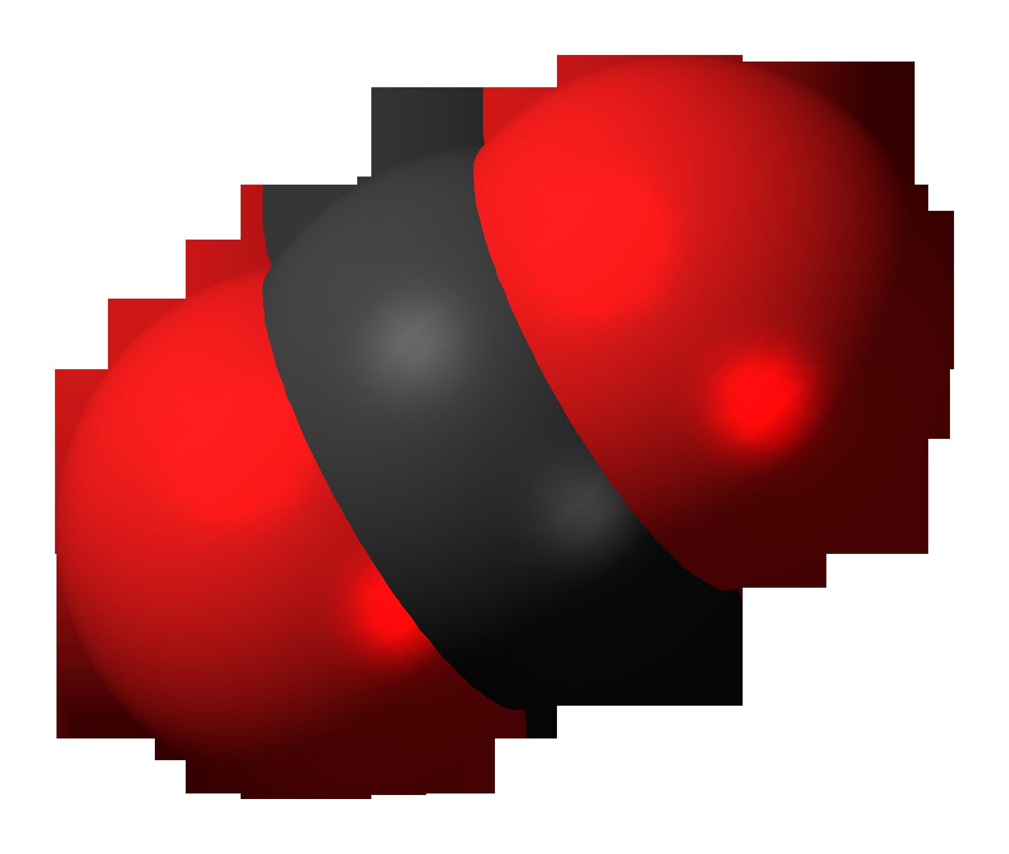 Space-filling model of carbon dioxide