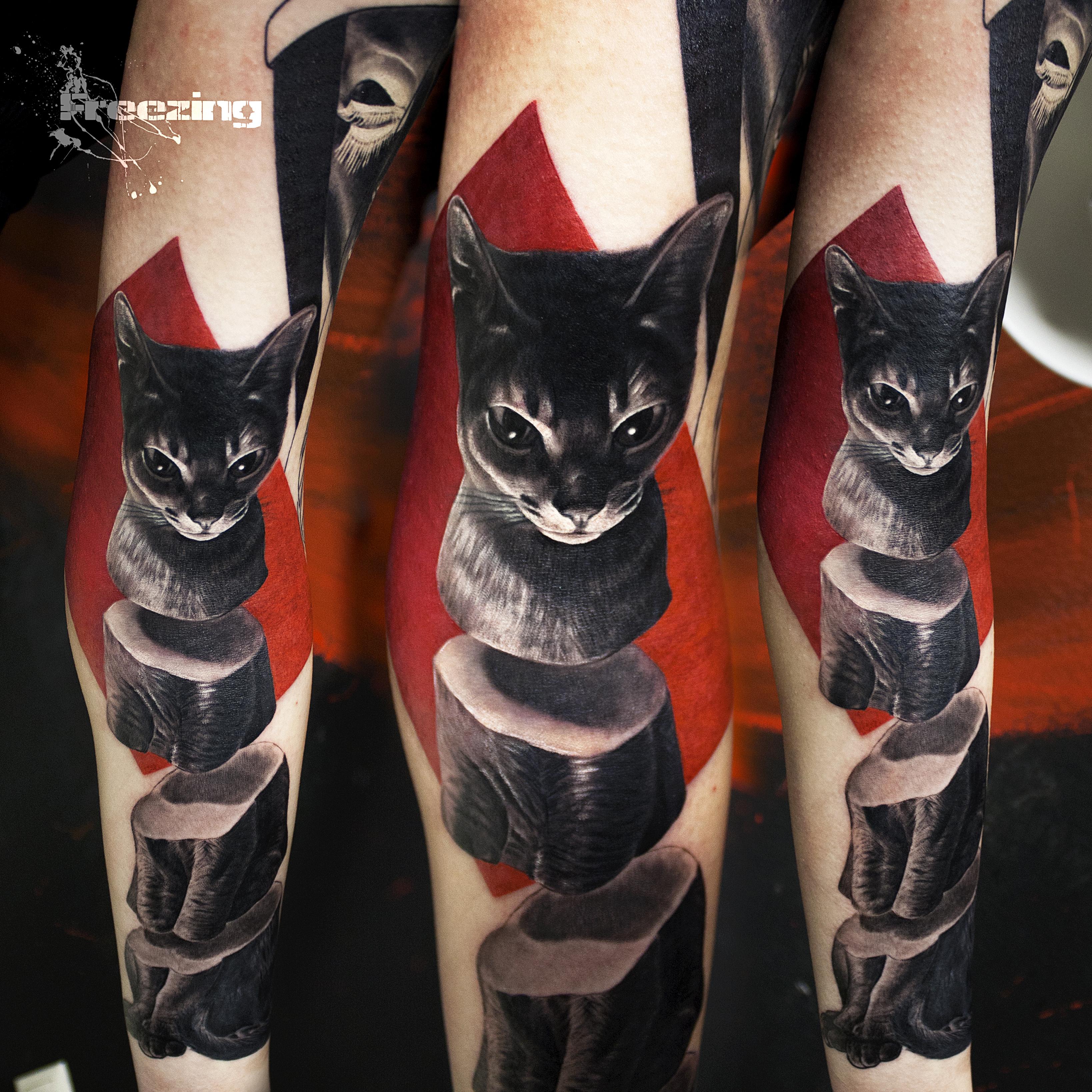 Cat by freezingtattoo - Trash Polka Tattoo Art