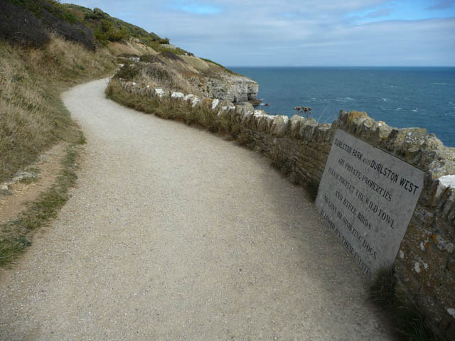Coast path and inscribed stone, Durlston Country Park - geograph.org.uk - 1626574