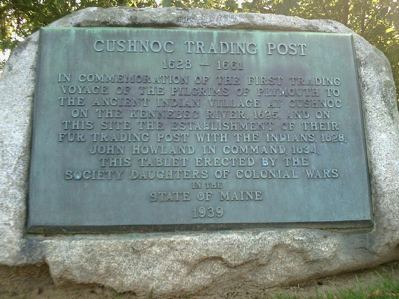 File:Cushnoc Trading Post, Maine Commemorative Tablet jpeg