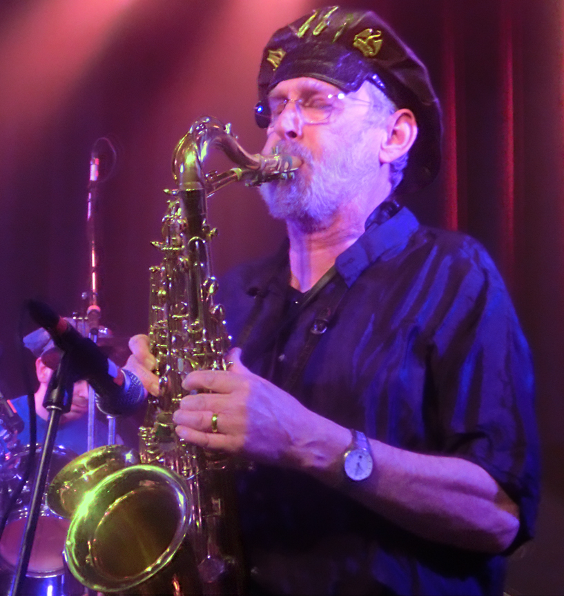 Saxophonist David Jackson playing with Alex Carpani Band at an concert 23 February 2013.