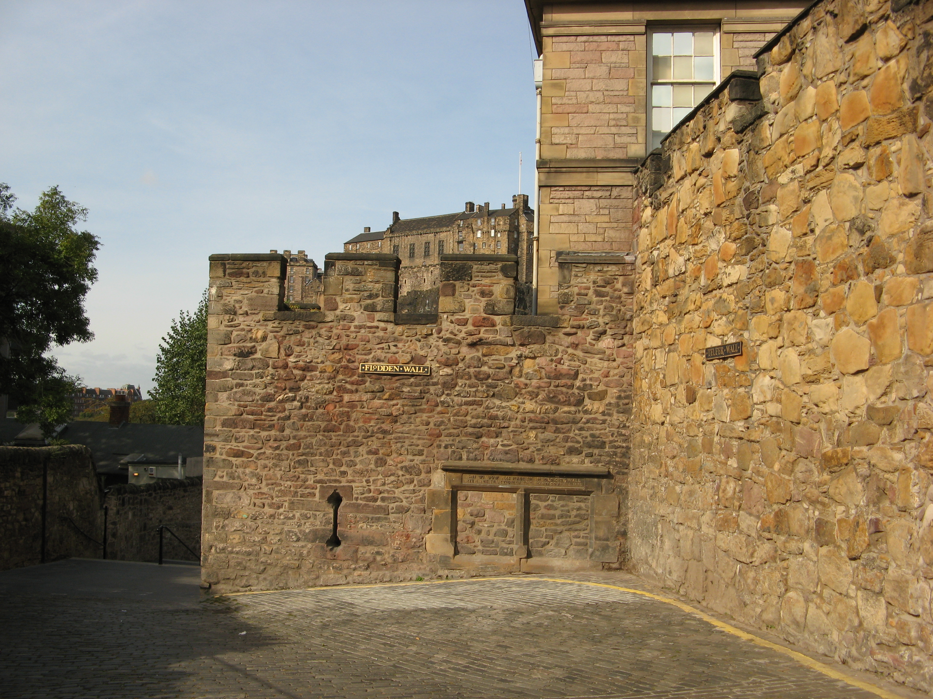 Remains of the bastion known as the  Flodden Tower  with Edinburgh Castle  behind and the Telfer Wall on the right. Edinburgh town walls   Military Wiki   FANDOM powered by Wikia