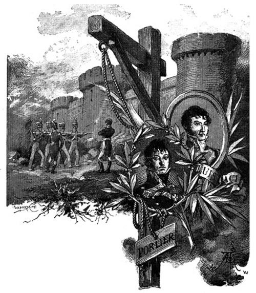 """Fusilamiento del general Lacy. Medallones de Lacy y Porlier. Ilustración de """"La segunda casaca"""" de Galdós.jpg"""