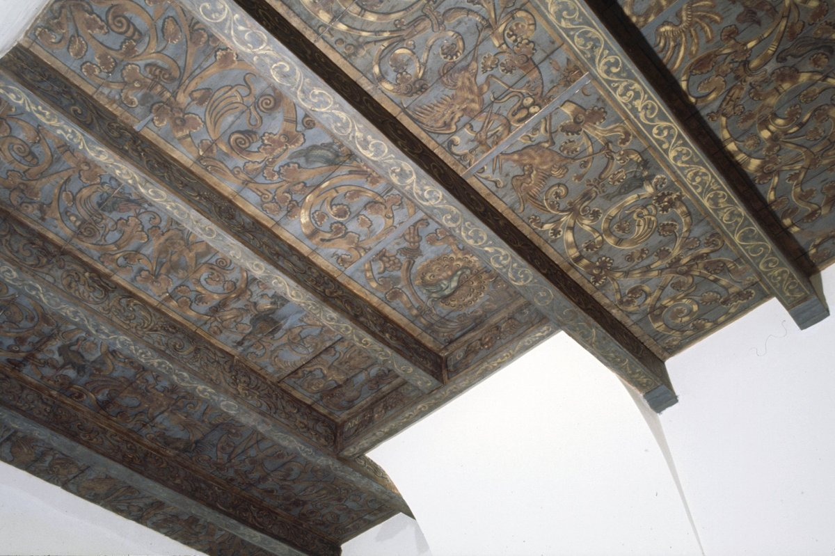 File interieur kamer plafond beschilderde balken amsterdam