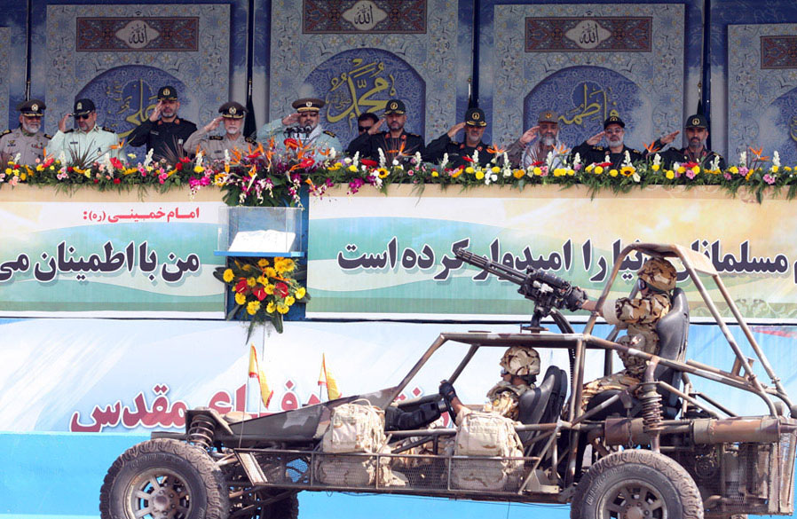 File Iria Dune Bugys Parading In Front Of Highest Ranking Officers Iran Jpg