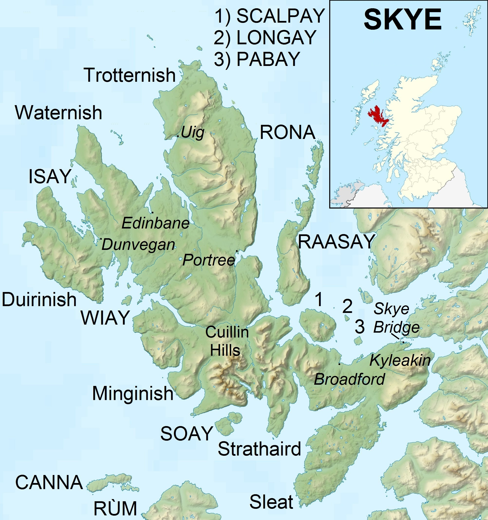 Map showing the location of Soay. It is a small island directly south of the Cullin Hills on the Isle of Skye