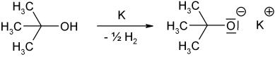Deprotonierung von 2-Methyl-2-propanol durch Kalium zum tert-Butanolat-Anion
