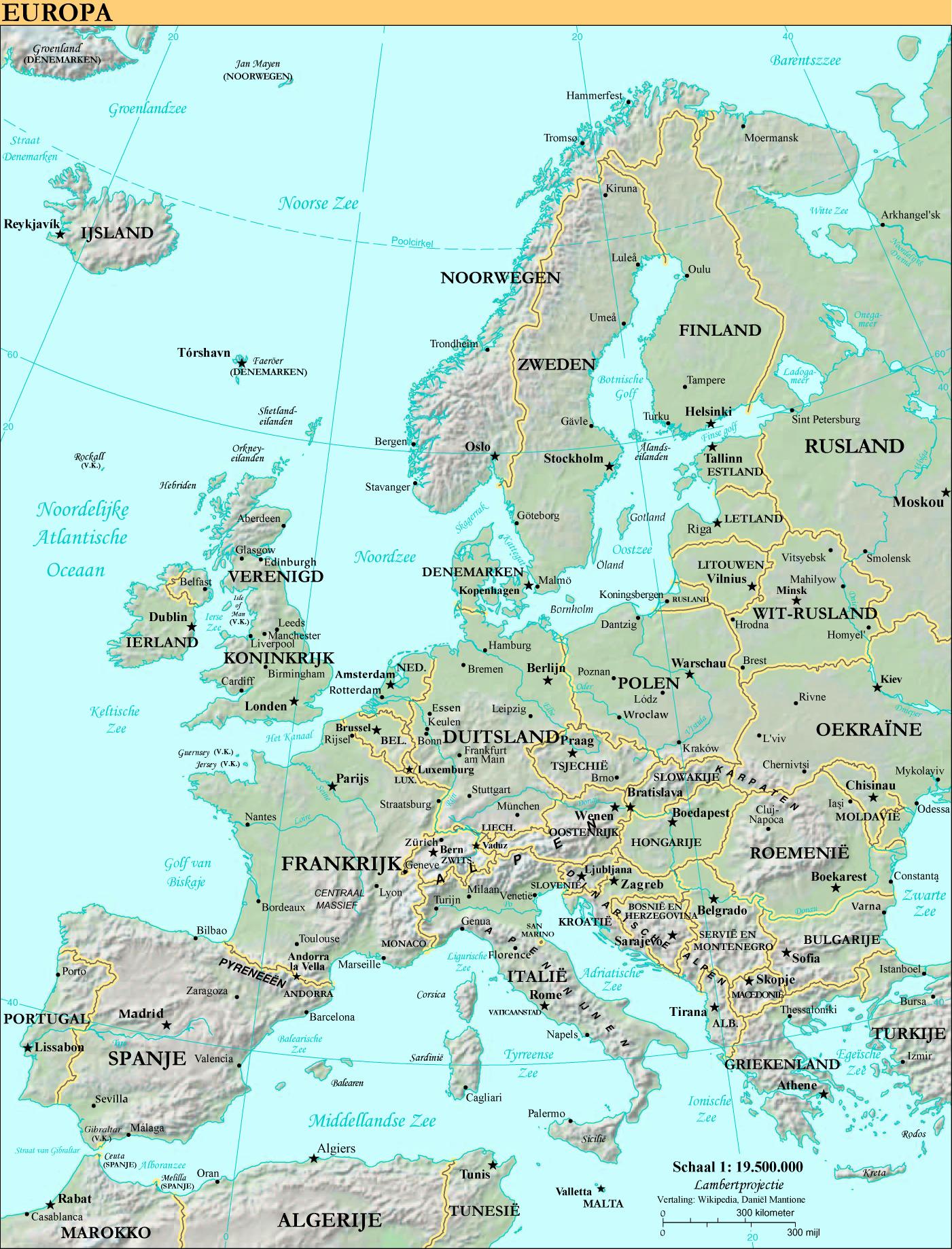 Beschrijving kaart europa