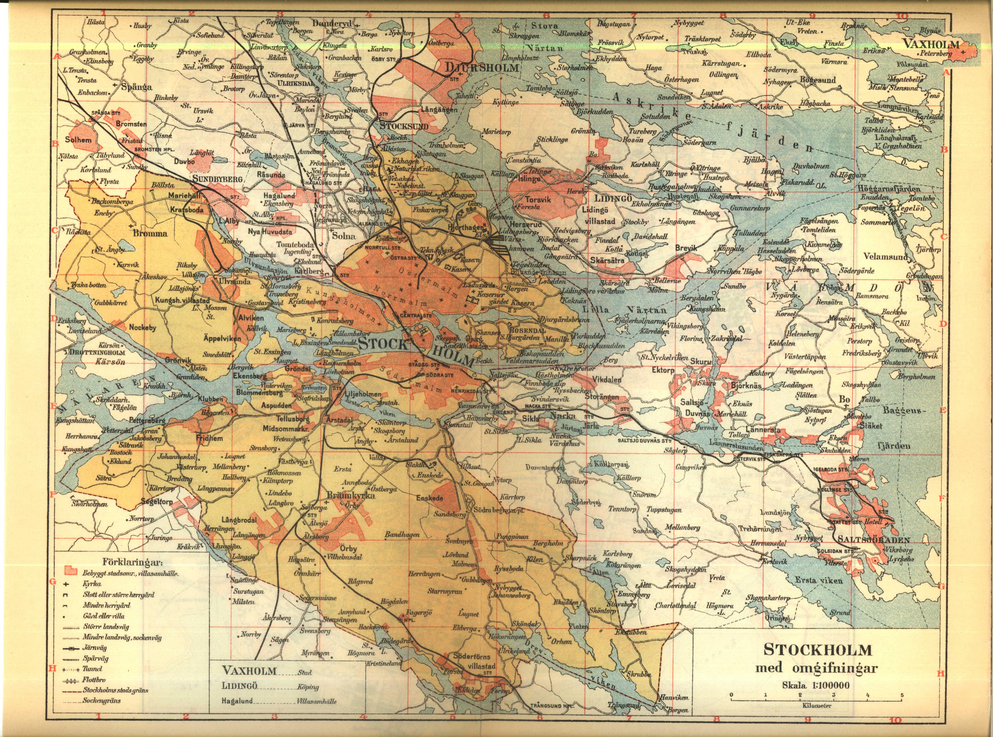 stockholm city karta File:Karta över Stockholm med omgivningar på 1910 talet (ur  stockholm city karta