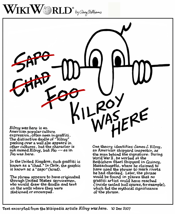 Greg Williams cartoon on the Wikipedia entry for Kilroy