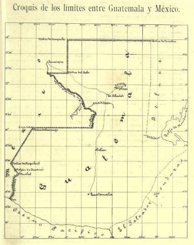 Mapa de límites de Guatemala y México tras los tratados de Wyke-Aycinena y Herrera-Mariscal.
