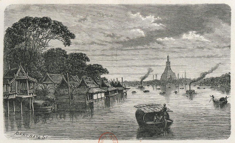 Vue de Bangkok le long du fleuve en 1868 - Gravure de Henri Mouhot