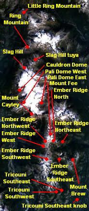 Image showing the location of a north-south trending zone of related volcanoes and local landscape.