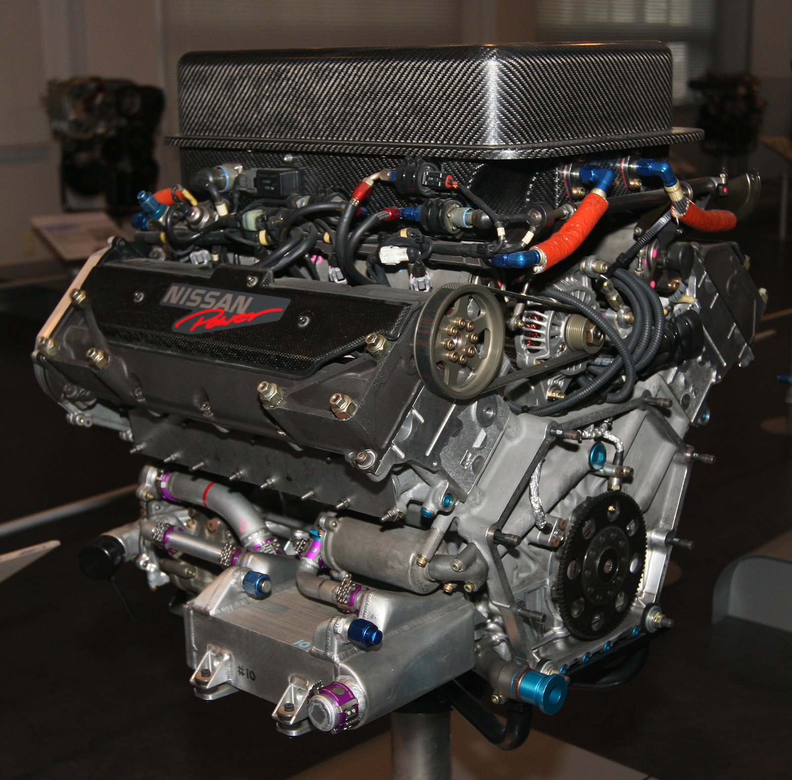 File Nissan Vrh50a Engine Rear Nissan Engine Museum Jpg