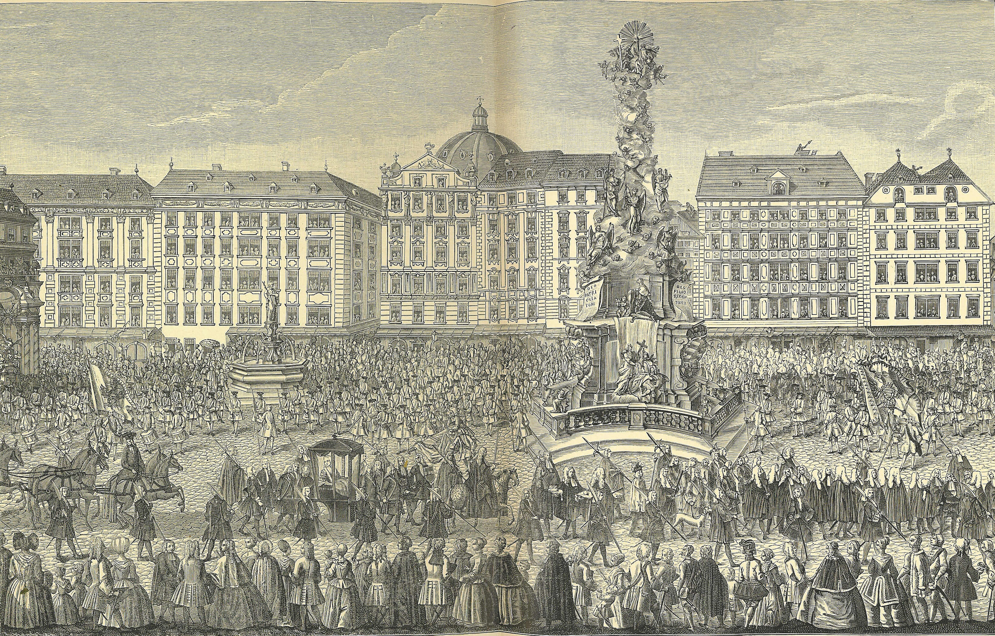 Procession of Maria Theresa at Vienna's Graben, 22 November 1740. A pregnant queen goes to Mass at the Cathedral of St. Stephen before receiving homage.