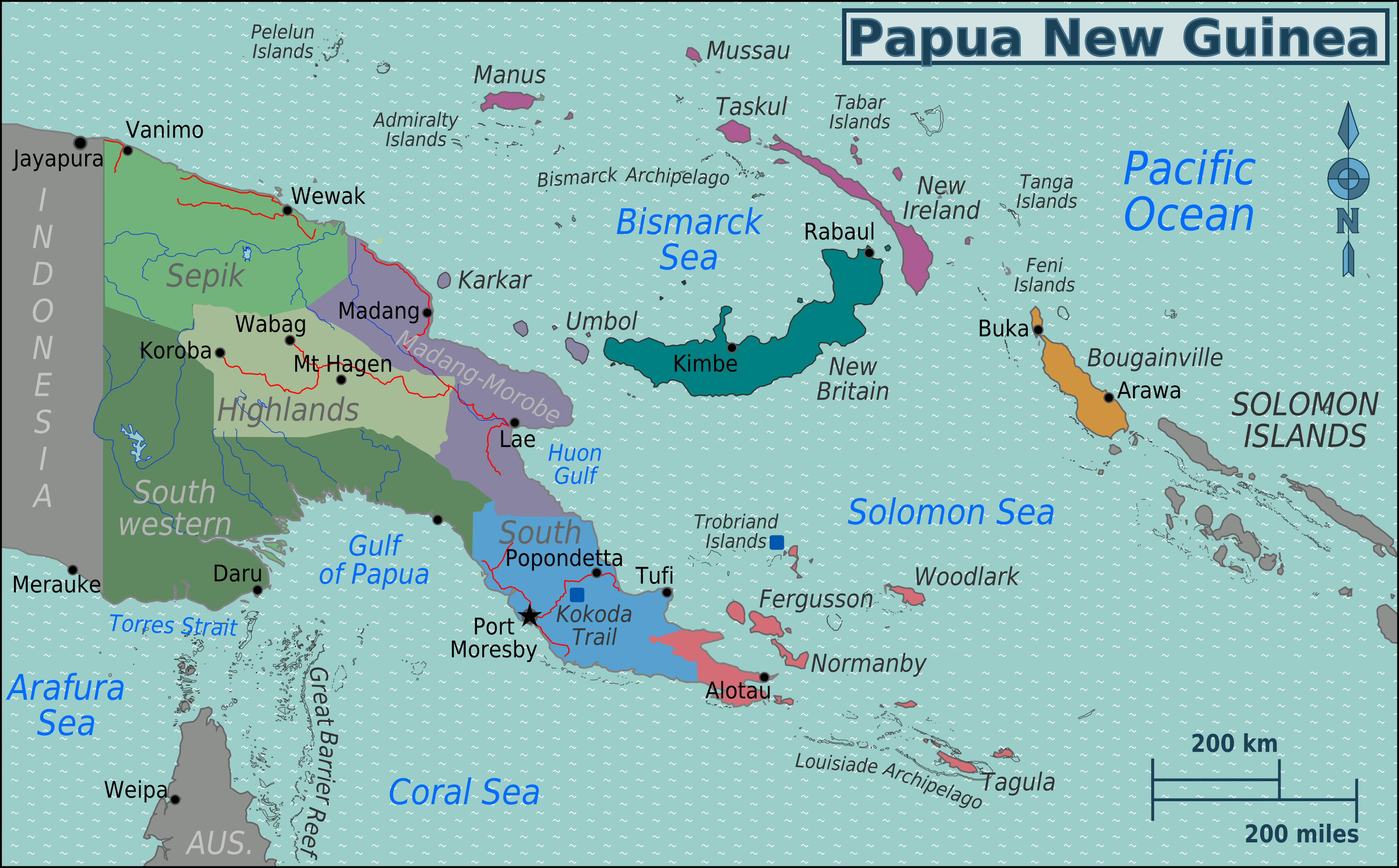 Map Of Png File:PNG Regions map.png   Wikimedia Commons Map Of Png