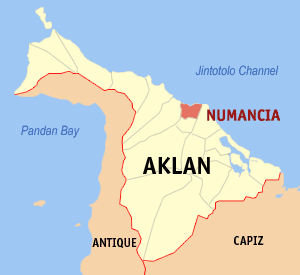 Map of Aklan showing the location of Numancia