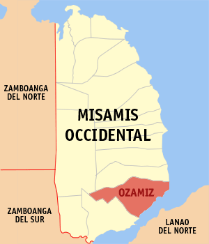 Map of Misamis Occidental showing the location of Ozamis City