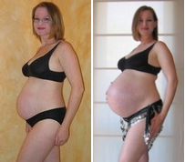 Pregnancy comparison. 26 weeks and 40 weeks. 2005