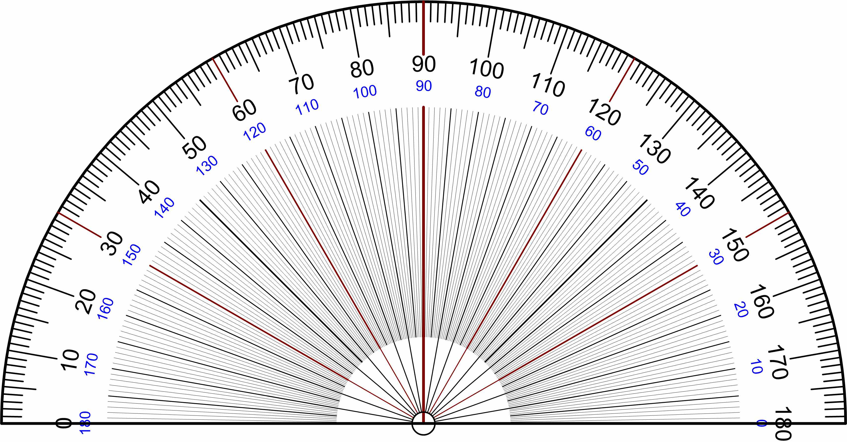 Full Circle Protractor Template A half circle protractor