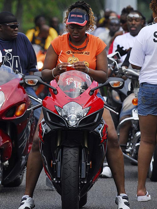 with orange tshirt on Suzuki at Black Bike Week Festival 2008.jpg