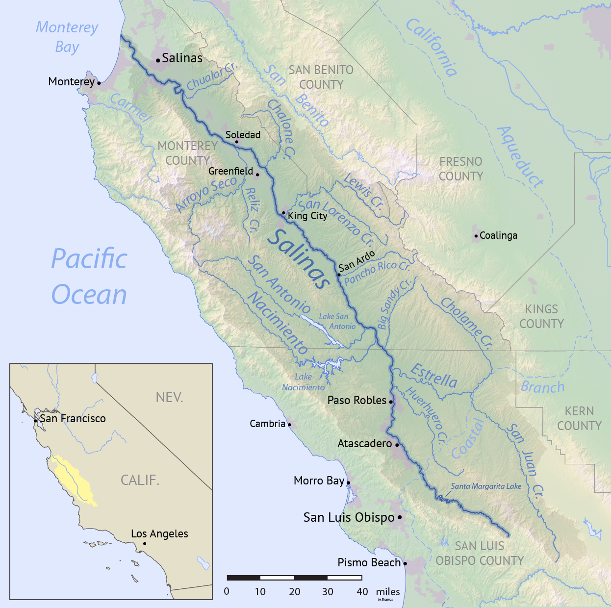 Map of the Salinas River watershed Salinas