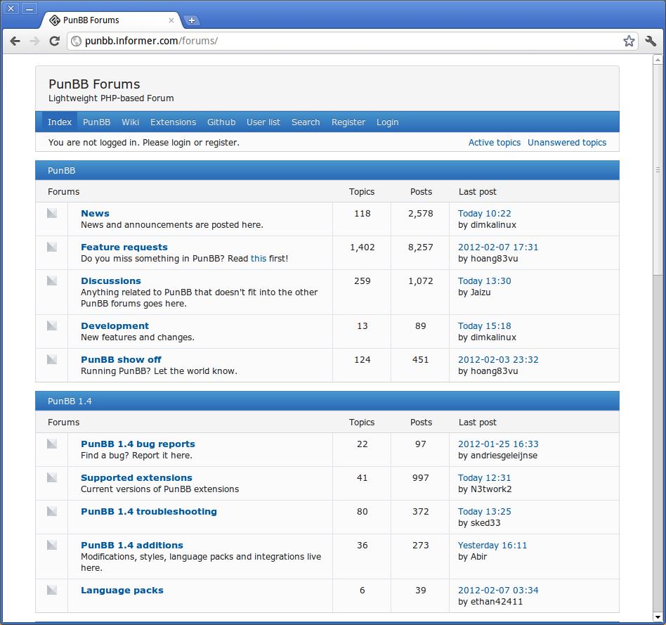 My punbb forum