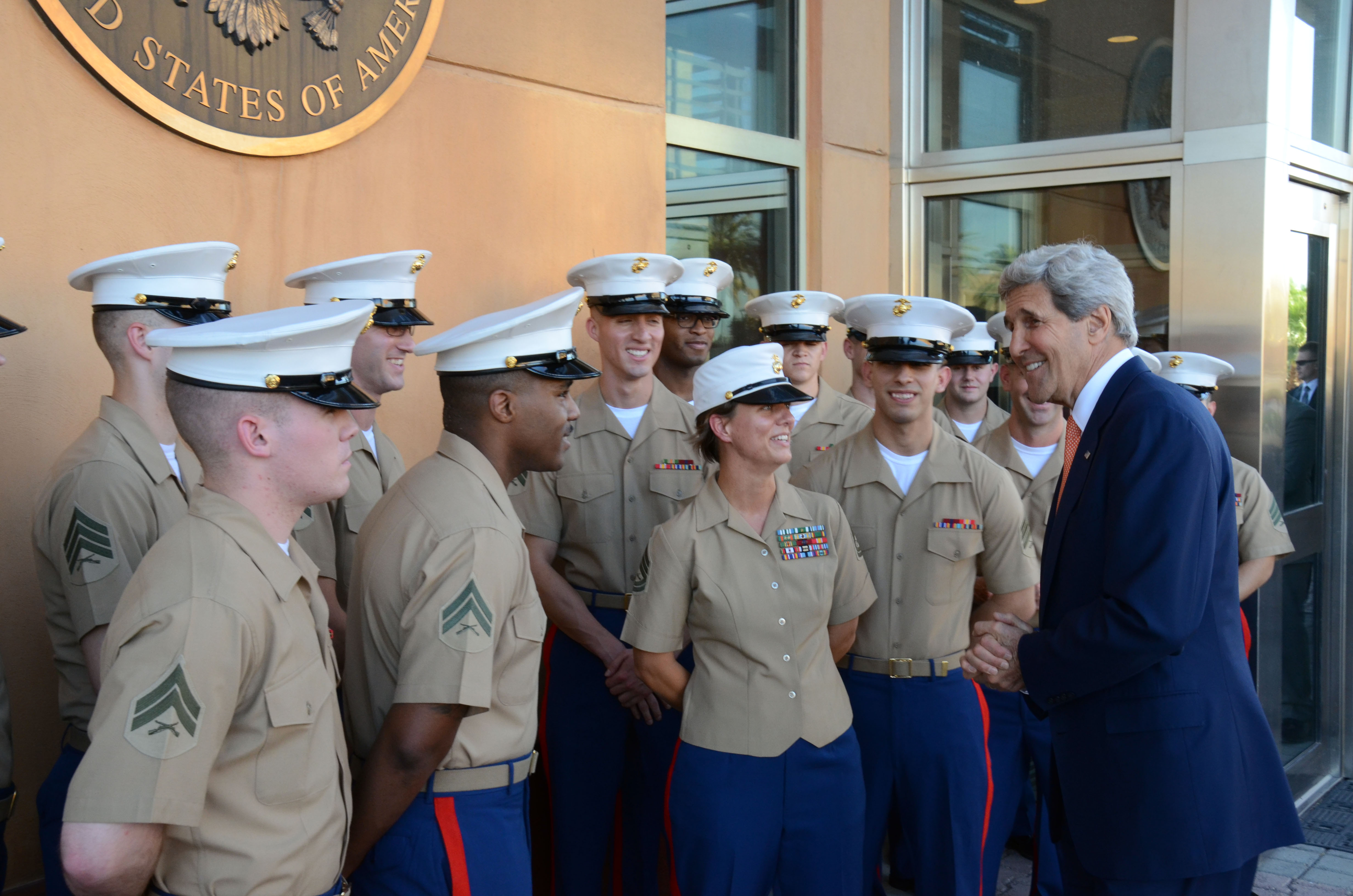 filesecretary kerry thanks the marine security guard detachment at embassy baghdad 14541842953
