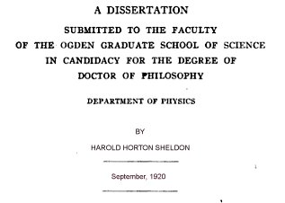 The cover page for Sheldon's dissertation.